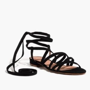 EUC Madewell Holly Black Suede Lace up Sandal 61/2